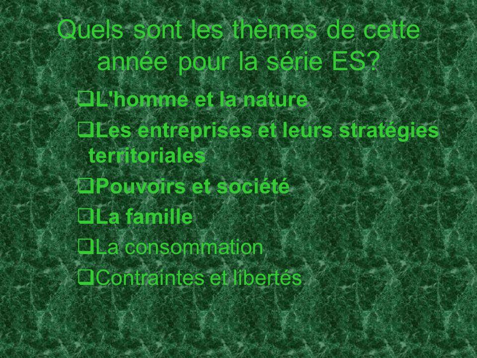 Quels sont les thèmes de cette année pour la série ES
