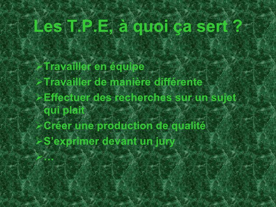 Les T.P.E, à quoi ça sert Travailler en équipe