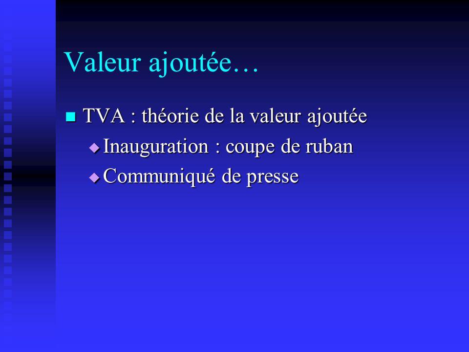 Valeur ajoutée… TVA : théorie de la valeur ajoutée