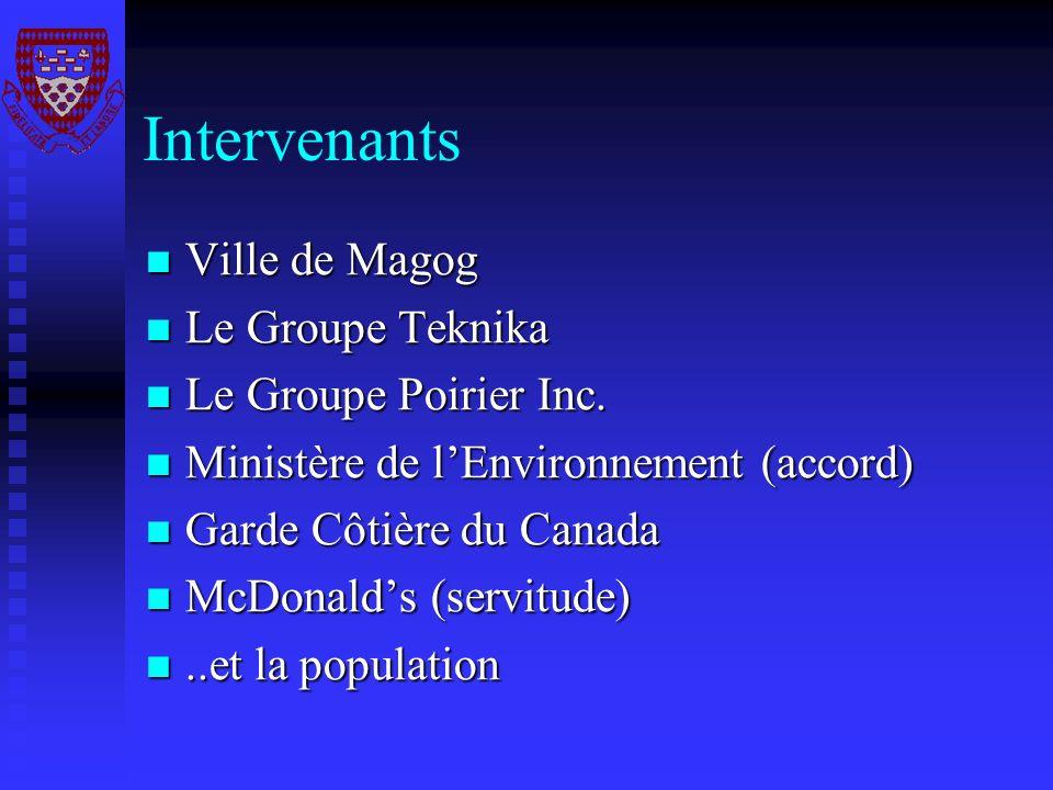Intervenants Ville de Magog Le Groupe Teknika Le Groupe Poirier Inc.