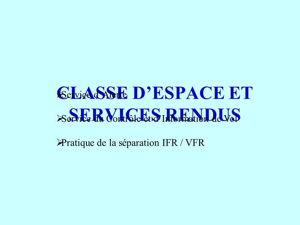 CLASSE D'ESPACE ET SERVICES RENDUS