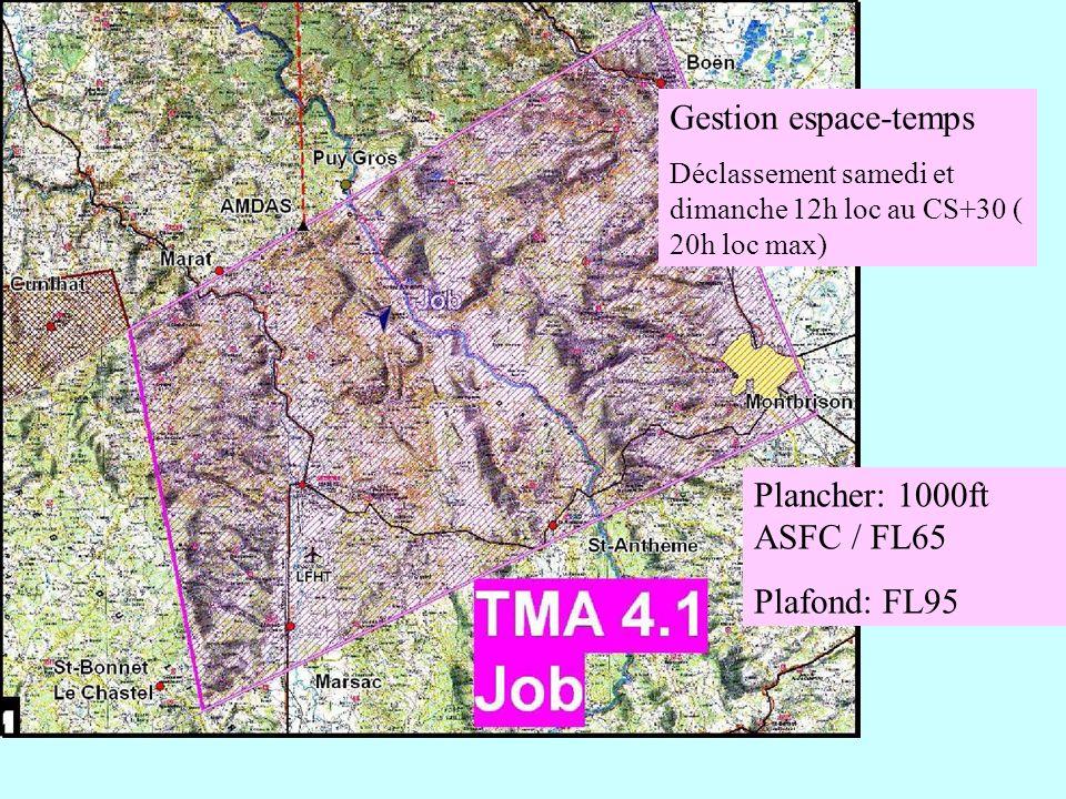 Gestion espace-temps Plancher: 1000ft ASFC / FL65 Plafond: FL95