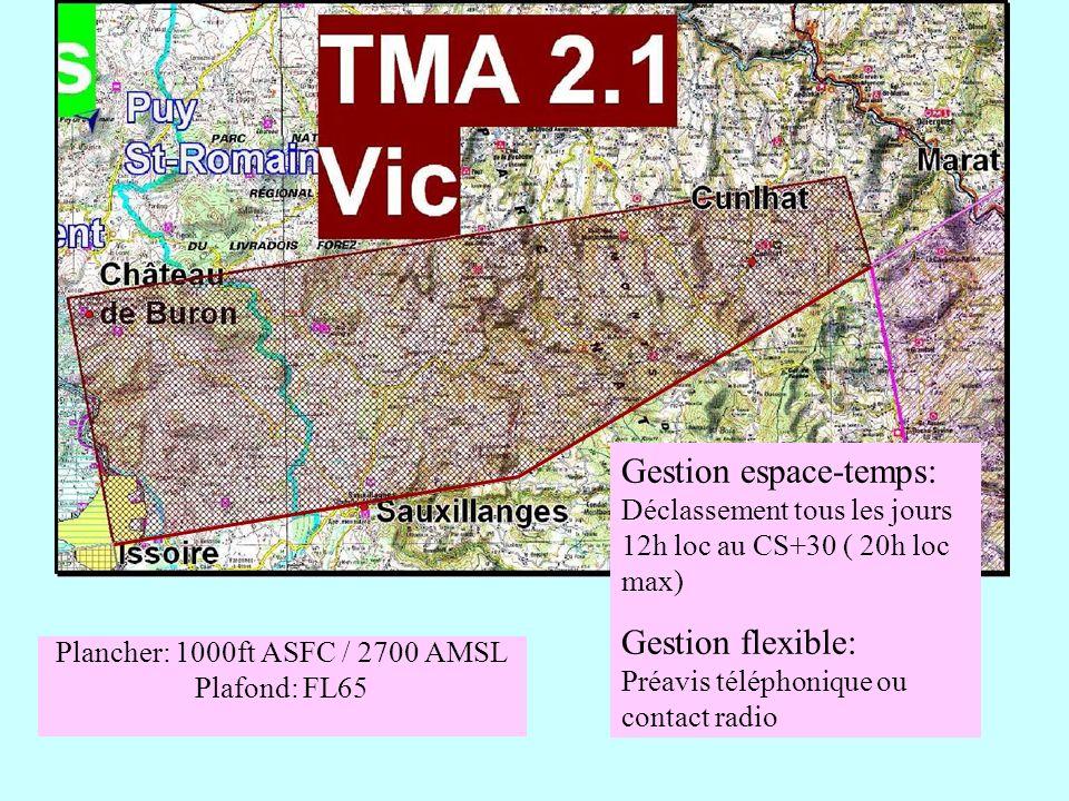 Plancher: 1000ft ASFC / 2700 AMSL Plafond: FL65