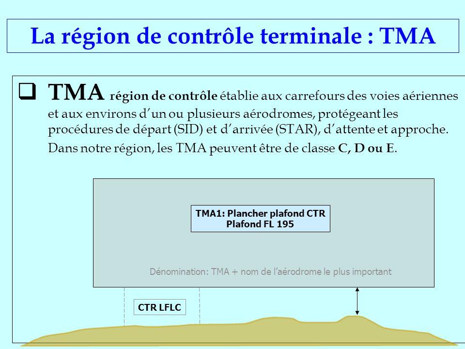 La région de contrôle terminale : TMA TMA1: Plancher plafond CTR