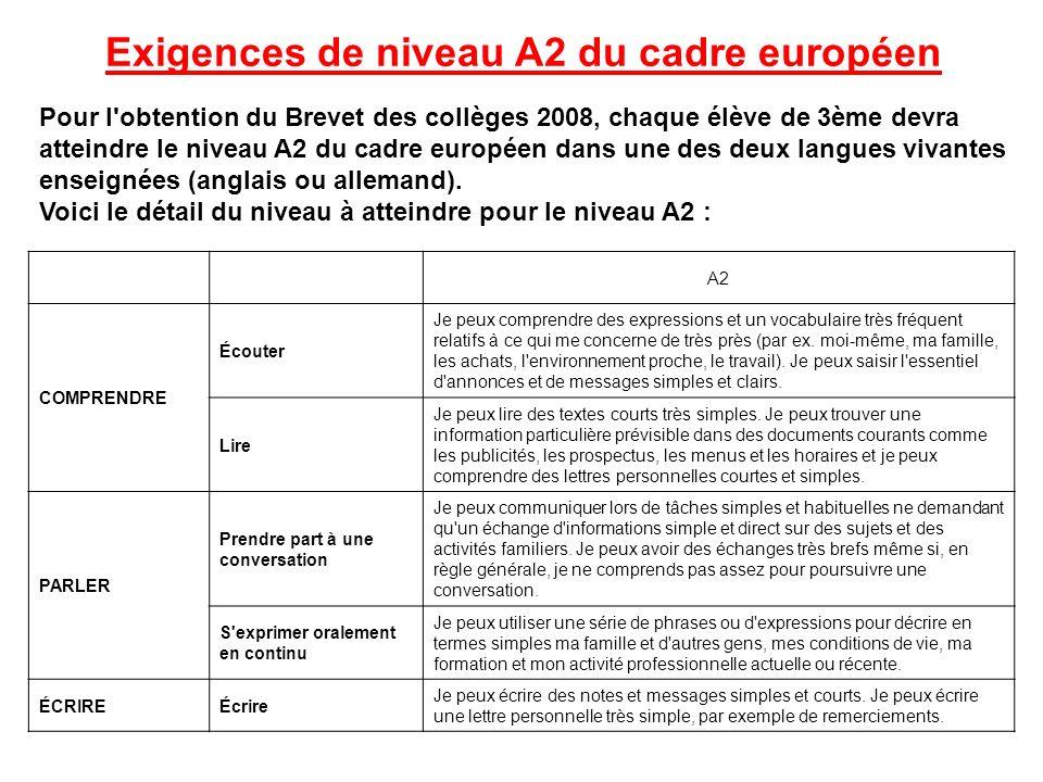 Exigences de niveau A2 du cadre européen