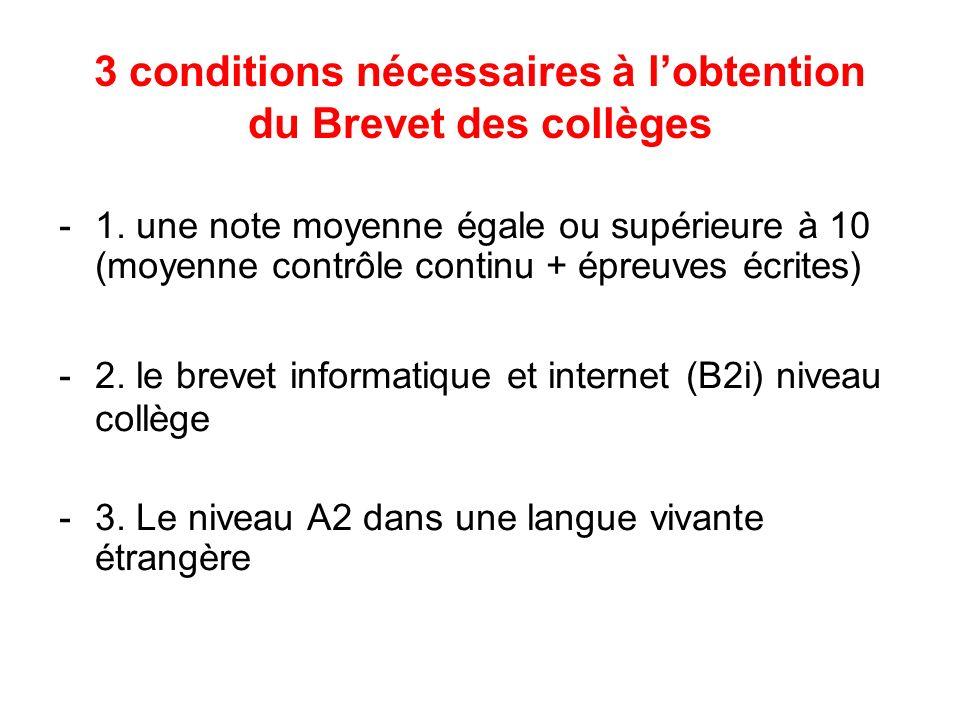 3 conditions nécessaires à l'obtention du Brevet des collèges