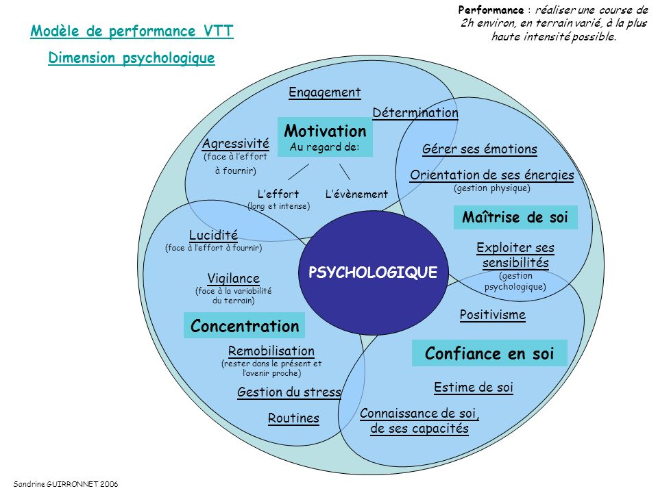 Modèle de performance VTT Dimension psychologique
