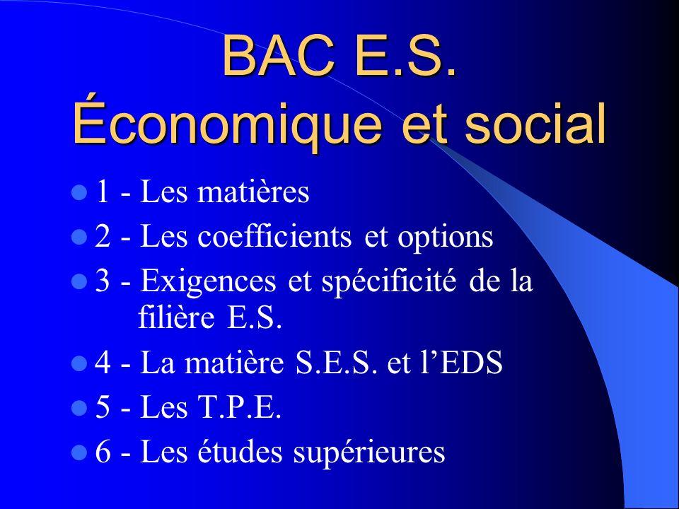 BAC E.S. Économique et social
