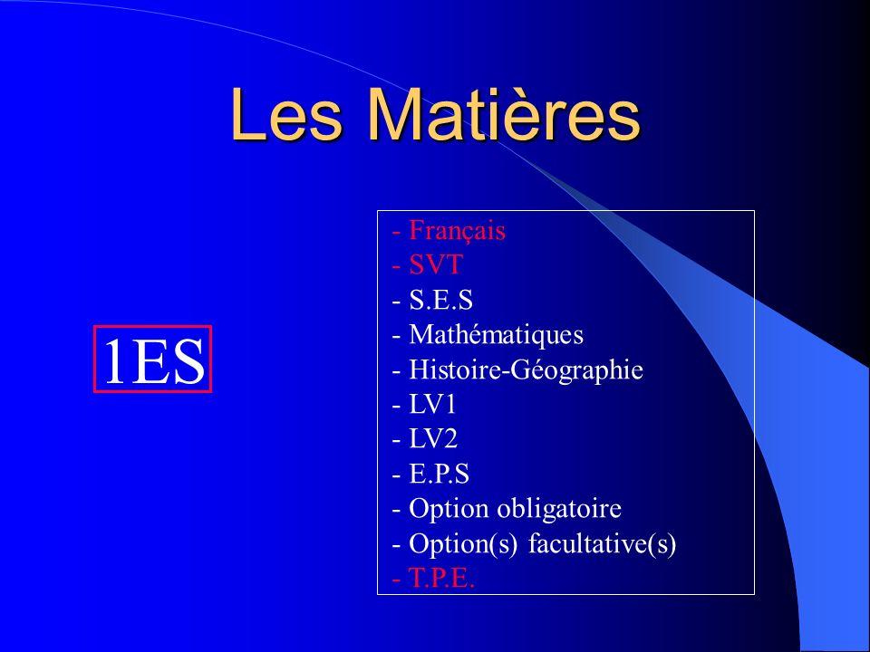 Les Matières 1ES Français SVT S.E.S Mathématiques Histoire-Géographie