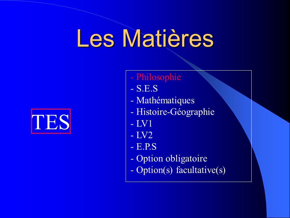 Les Matières TES Philosophie S.E.S Mathématiques Histoire-Géographie