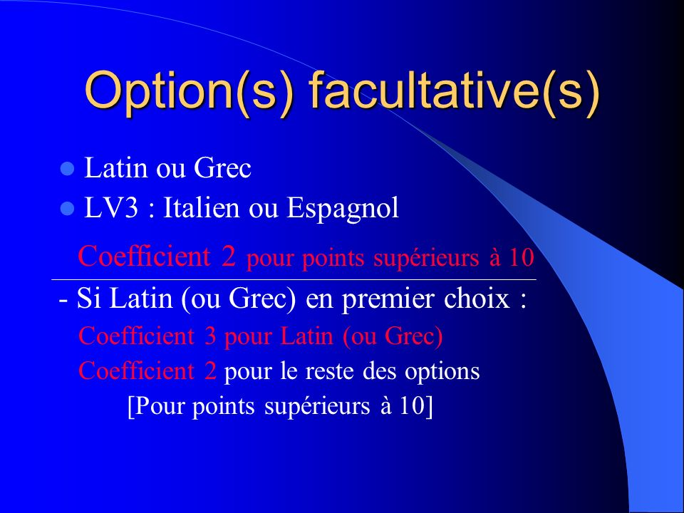 Option(s) facultative(s)