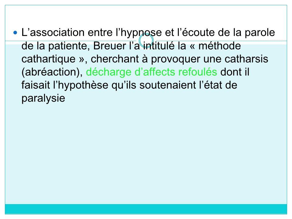 L'association entre l'hypnose et l'écoute de la parole de la patiente, Breuer l'a intitulé la « méthode cathartique », cherchant à provoquer une catharsis (abréaction), décharge d'affects refoulés dont il faisait l'hypothèse qu'ils soutenaient l'état de paralysie