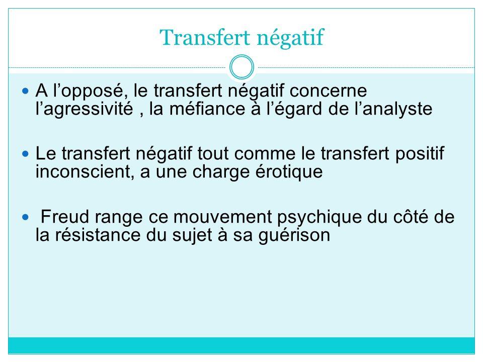 Transfert négatif A l'opposé, le transfert négatif concerne l'agressivité , la méfiance à l'égard de l'analyste.