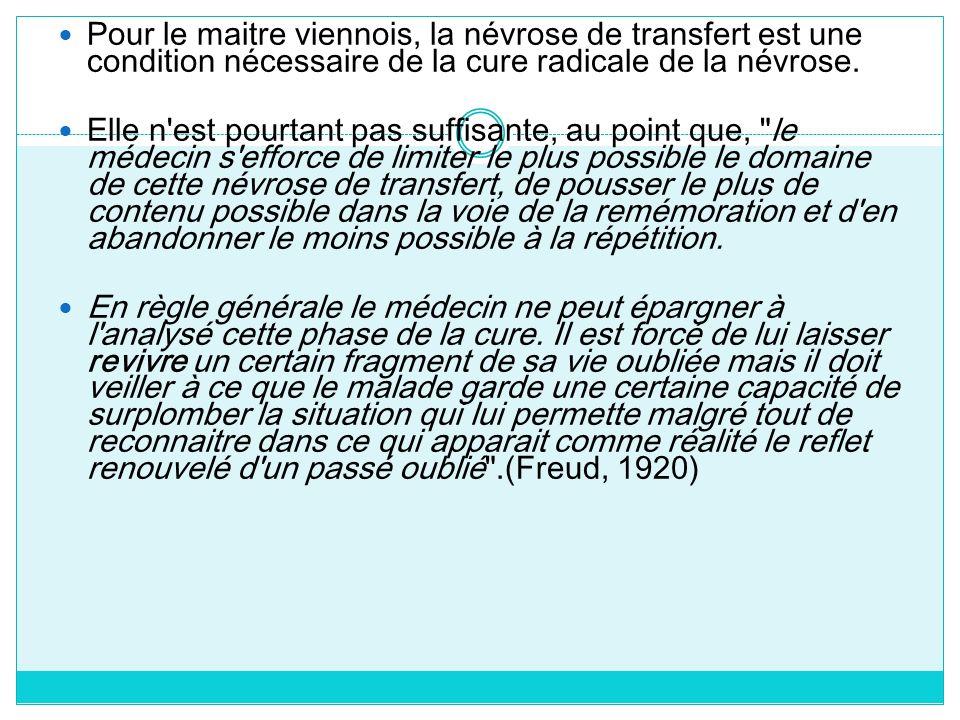 Pour le maitre viennois, la névrose de transfert est une condition nécessaire de la cure radicale de la névrose.