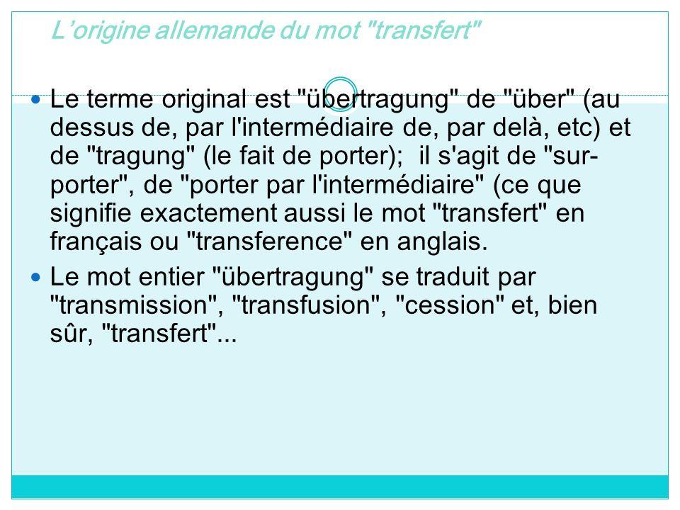L'origine allemande du mot transfert