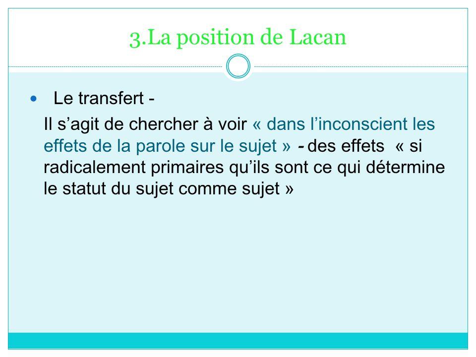 3.La position de Lacan Le transfert -