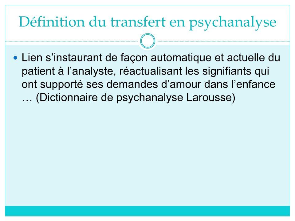 Définition du transfert en psychanalyse