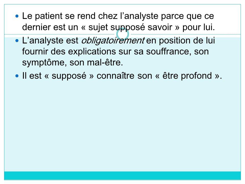 Le patient se rend chez l'analyste parce que ce dernier est un « sujet supposé savoir » pour lui.