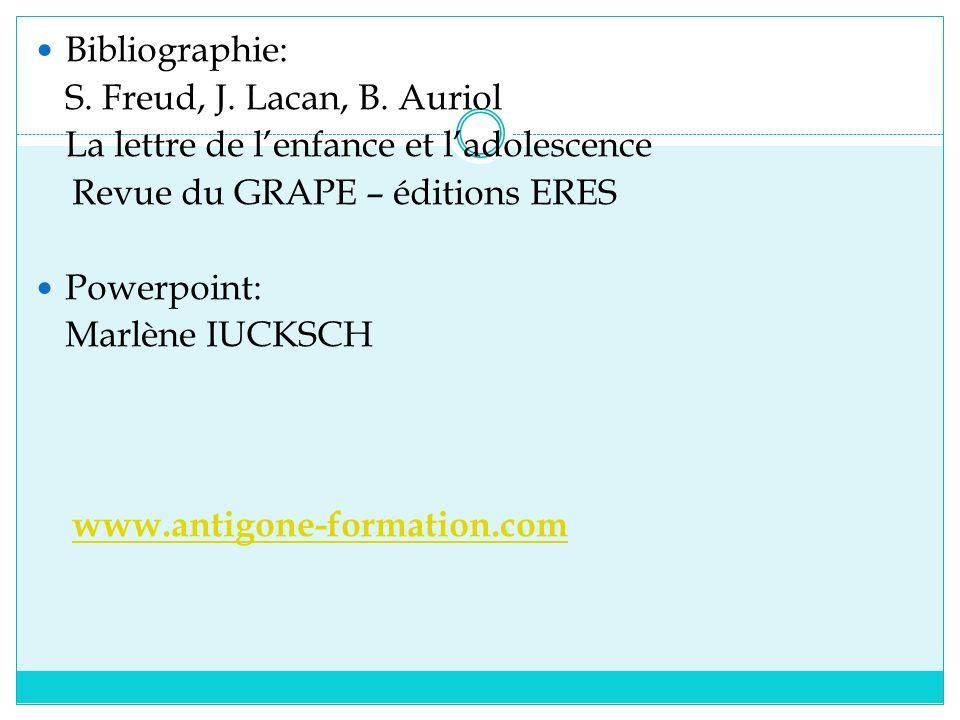 Bibliographie: S. Freud, J. Lacan, B. Auriol. La lettre de l'enfance et l'adolescence. Revue du GRAPE – éditions ERES.