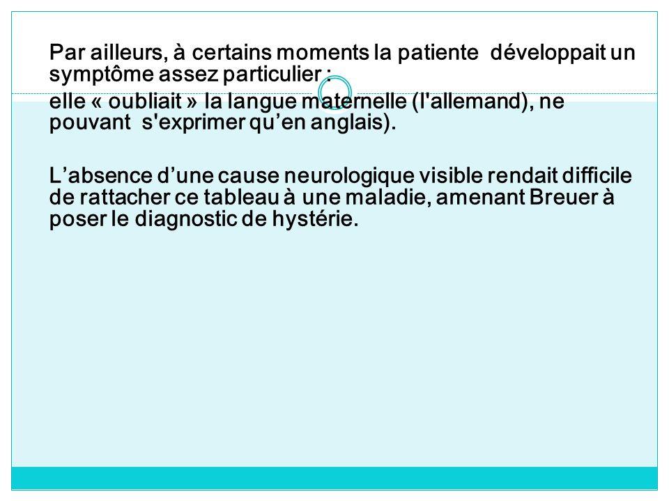 Par ailleurs, à certains moments la patiente développait un symptôme assez particulier : elle « oubliait » la langue maternelle (l allemand), ne pouvant s exprimer qu'en anglais).