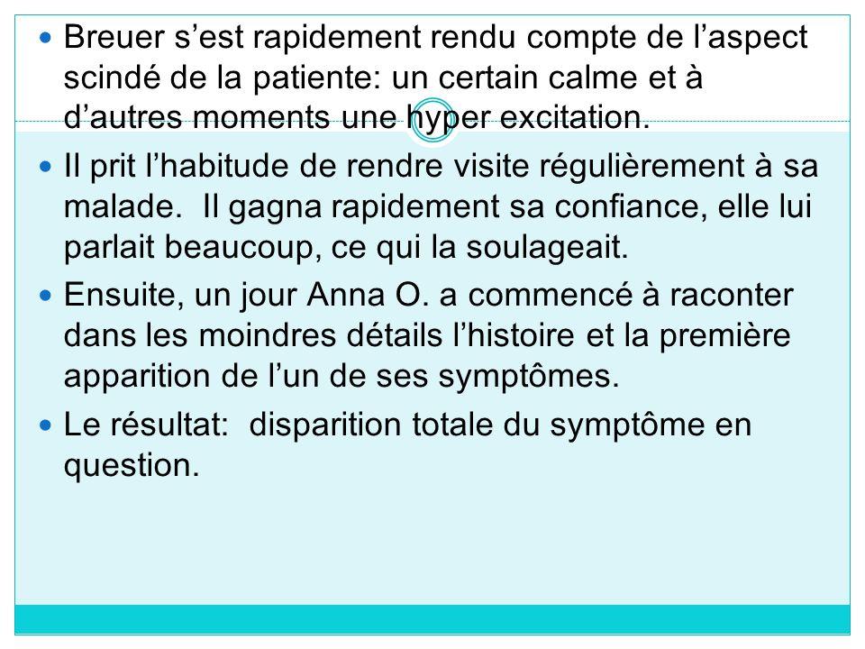 Breuer s'est rapidement rendu compte de l'aspect scindé de la patiente: un certain calme et à d'autres moments une hyper excitation.