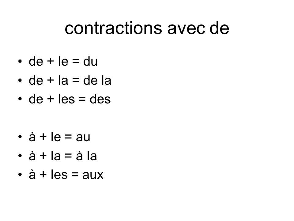 contractions avec de de + le = du de + la = de la de + les = des
