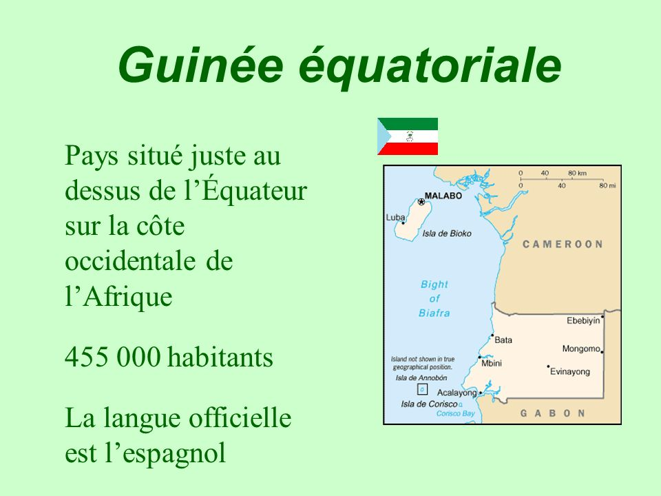 Guinée équatoriale 455 000 habitants