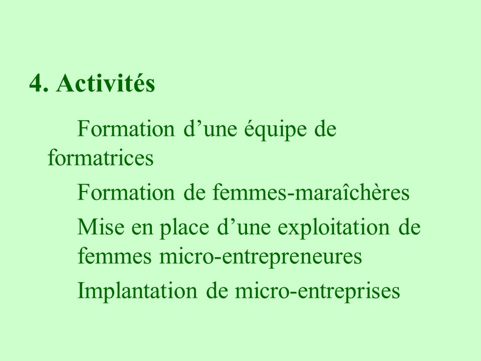 4. Activités Formation d'une équipe de formatrices