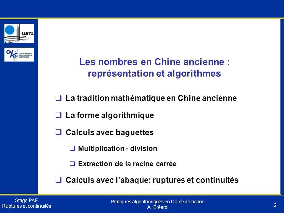 Les nombres en Chine ancienne : représentation et algorithmes