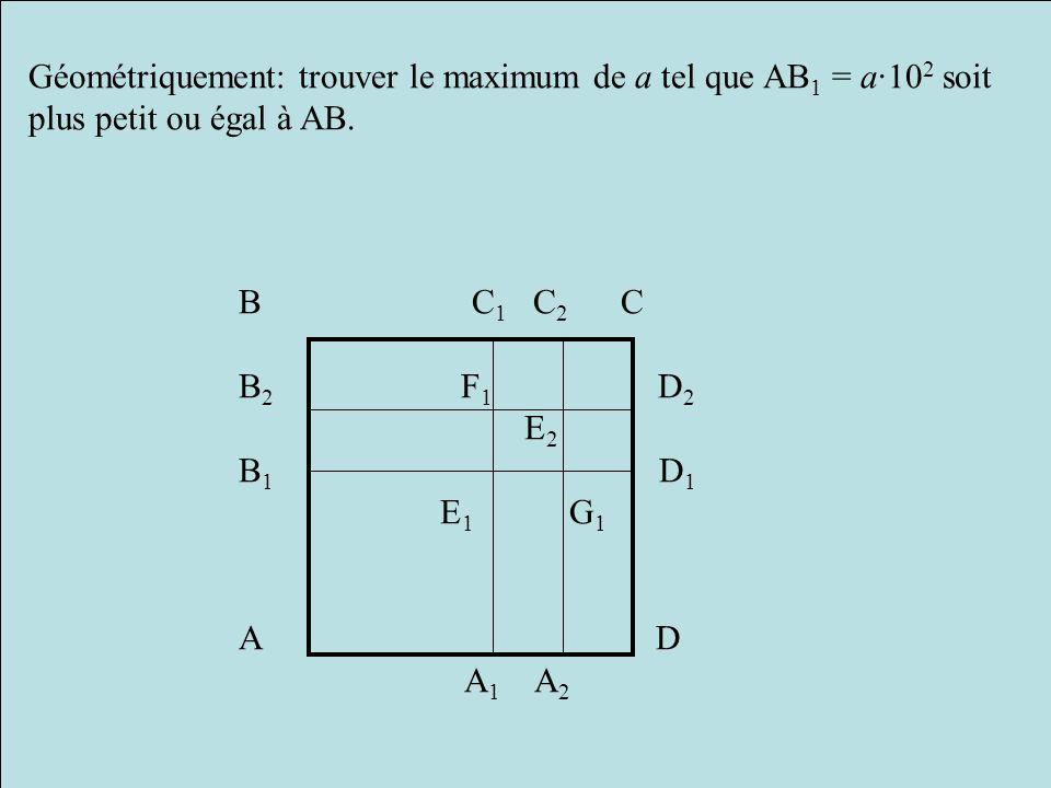 Géométriquement: trouver le maximum de a tel que AB1 = a·102 soit