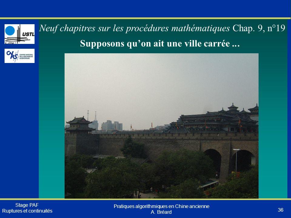 Neuf chapitres sur les procédures mathématiques Chap. 9, n°19