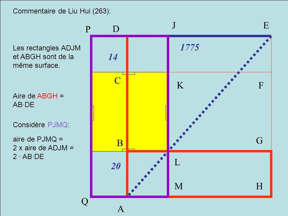 A B C D E F G H M J K L P 1775 14 20 Q Commentaire de Liu Hui (263):