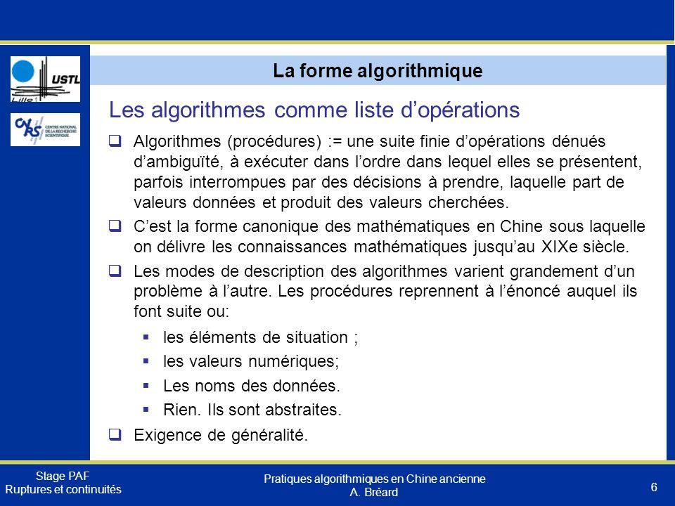 La forme algorithmique