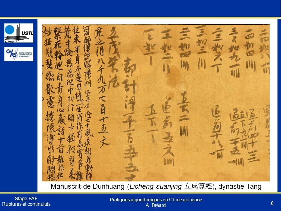Manuscrit de Dunhuang (Licheng suanjing 立成算經), dynastie Tang