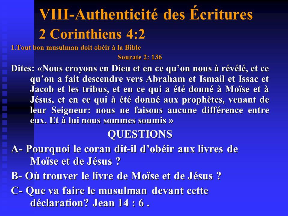 VIII-Authenticité des Écritures 2 Corinthiens 4:2