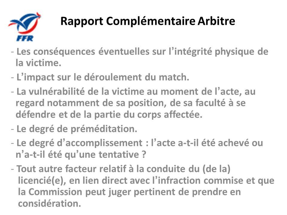 Rapport Complémentaire Arbitre