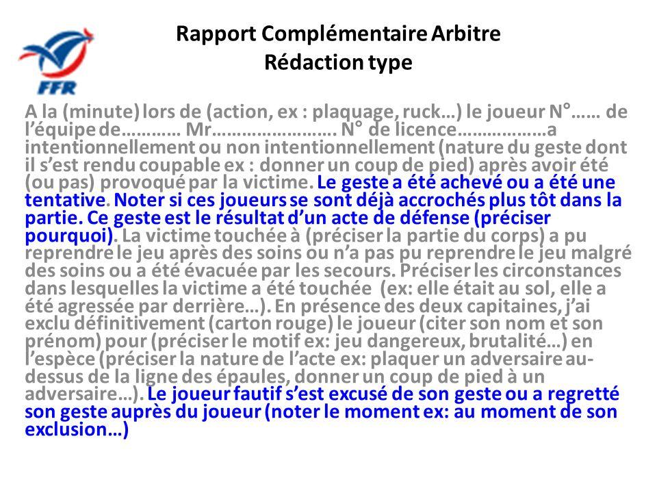 Rapport Complémentaire Arbitre Rédaction type