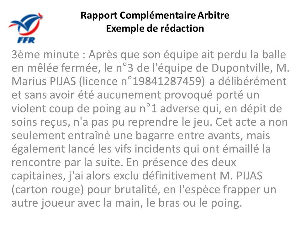 Rapport Complémentaire Arbitre Exemple de rédaction