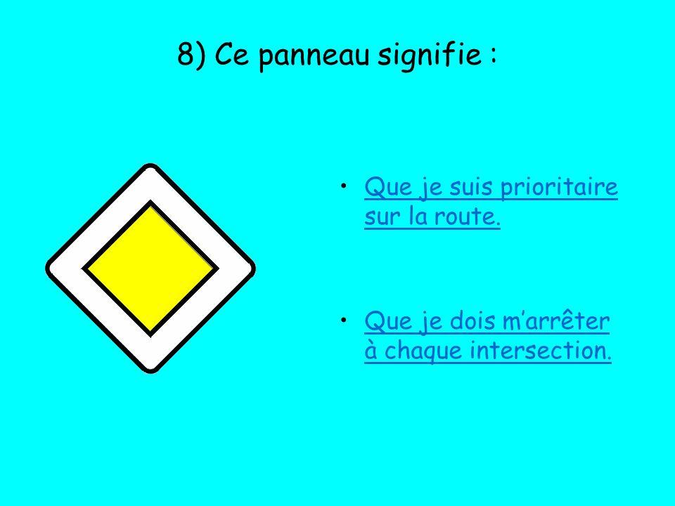 8) Ce panneau signifie : Que je suis prioritaire sur la route.