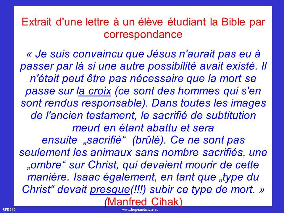 Extrait d une lettre à un élève étudiant la Bible par correspondance