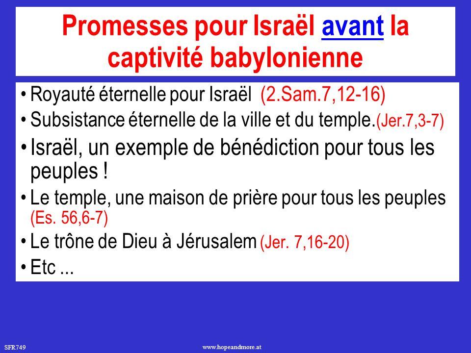 Promesses pour Israël avant la captivité babylonienne