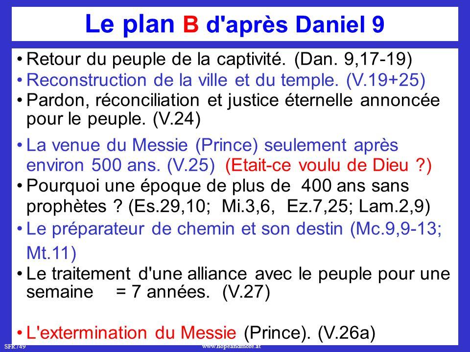 Le plan B d après Daniel 9 Retour du peuple de la captivité. (Dan. 9,17-19) Reconstruction de la ville et du temple. (V.19+25)