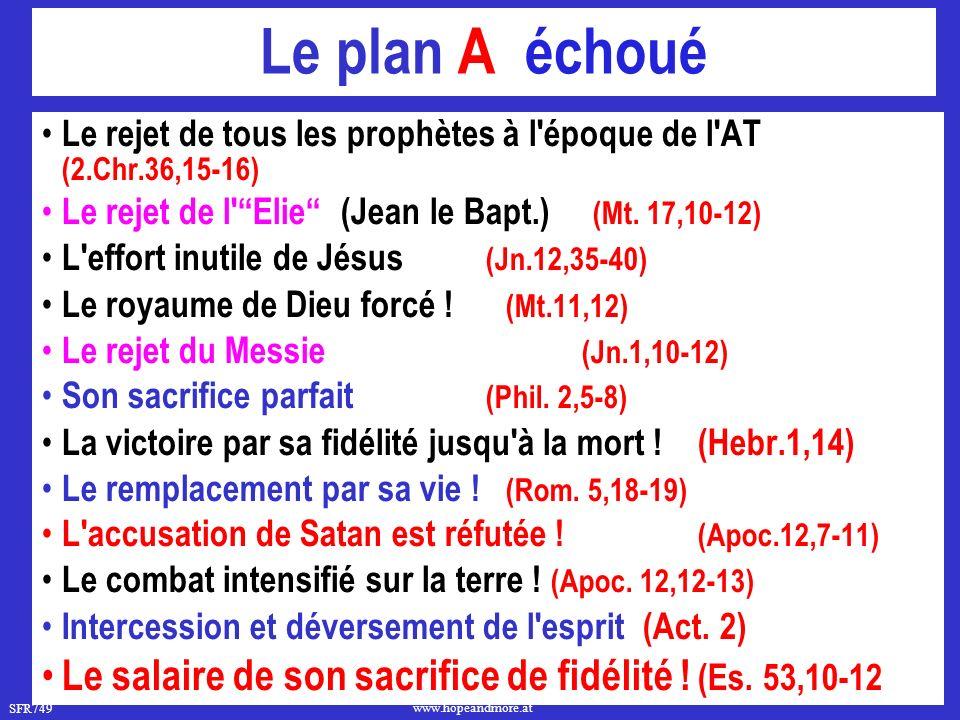 Le plan A échoué Le rejet de tous les prophètes à l époque de l AT (2.Chr.36,15- 16) Le rejet de l Elie (Jean le Bapt.) (Mt. 17,10-12)