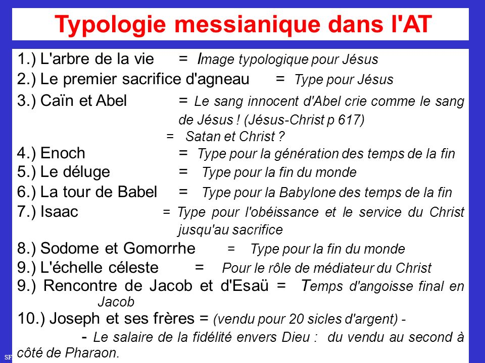 Typologie messianique dans l AT