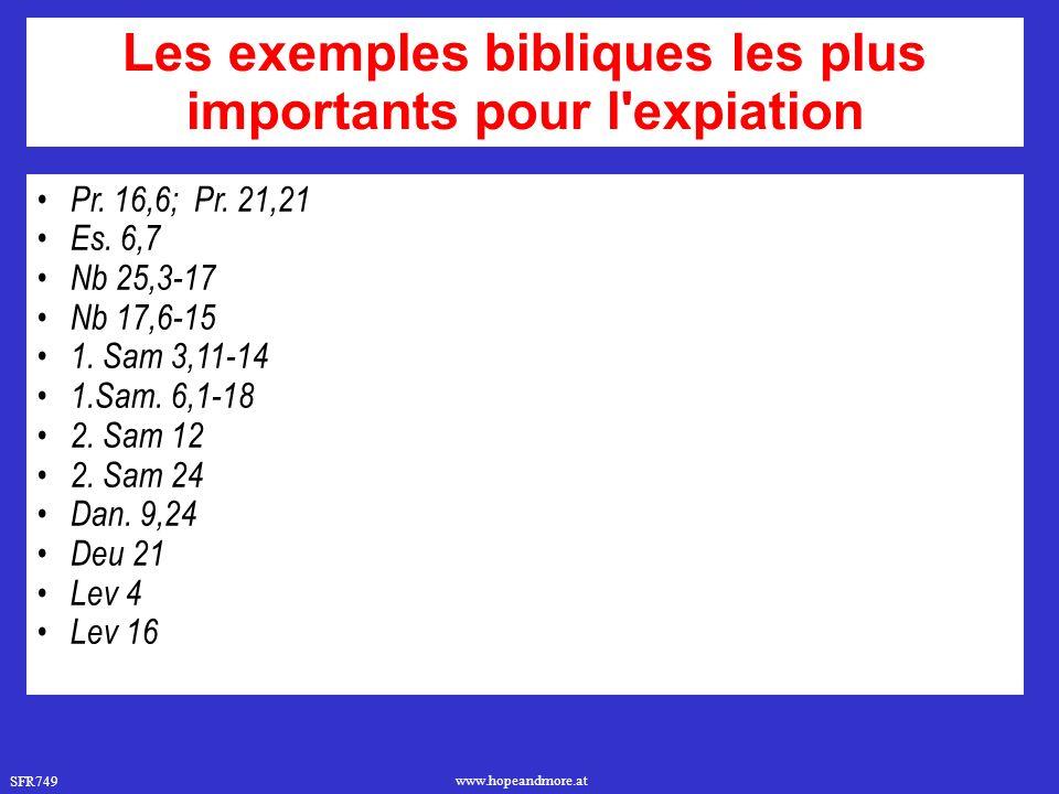 Les exemples bibliques les plus importants pour l expiation