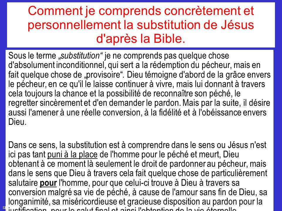 Comment je comprends concrètement et personnellement la substitution de Jésus d après la Bible.