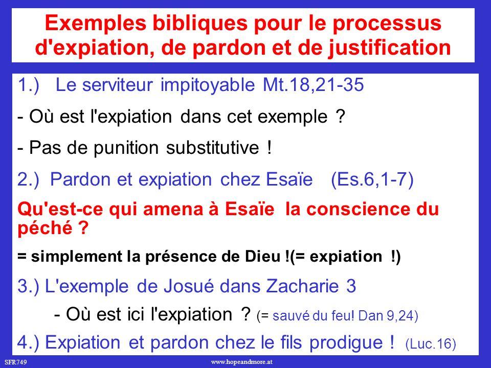 Exemples bibliques pour le processus d expiation, de pardon et de justification