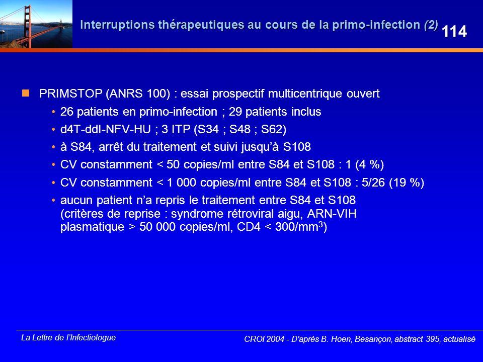 Interruptions thérapeutiques au cours de la primo-infection (2)