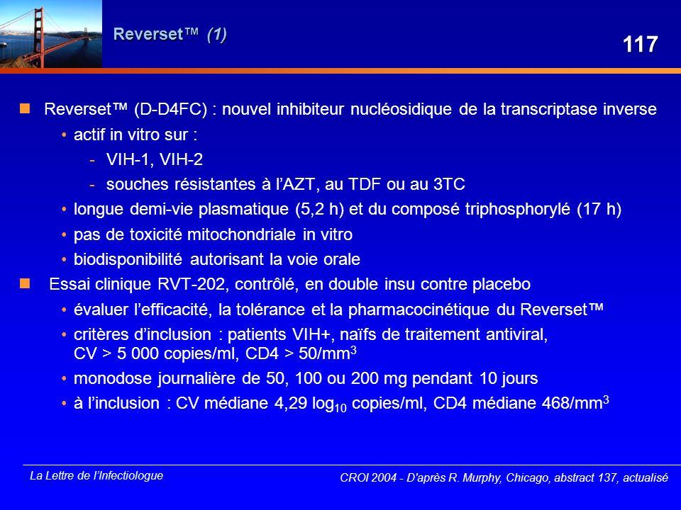 Reverset™ (1) 117. Reverset™ (D-D4FC) : nouvel inhibiteur nucléosidique de la transcriptase inverse.