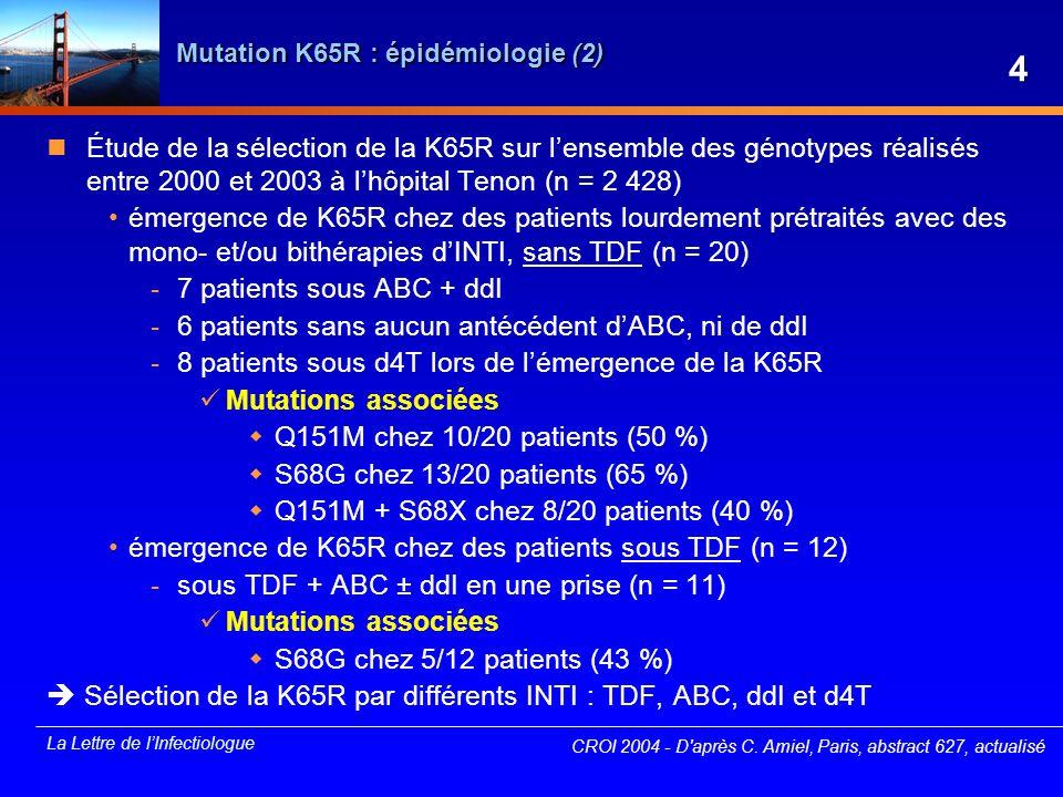 Mutation K65R : épidémiologie (2)